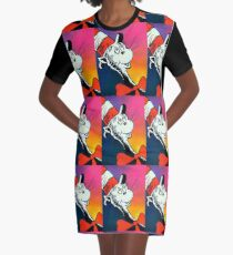 Portrait of Cat in the Hat Graphic T-Shirt Dress