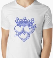 Three Hearts Crown &  Dagger Men's V-Neck T-Shirt