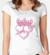 Three Hearts Crown & dagger Women's Fitted Scoop T-Shirt