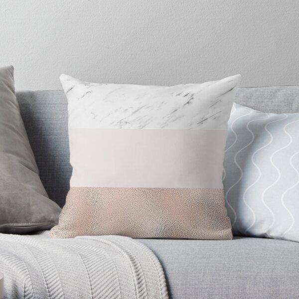 Pastel striping - rose gold marble Throw Pillow
