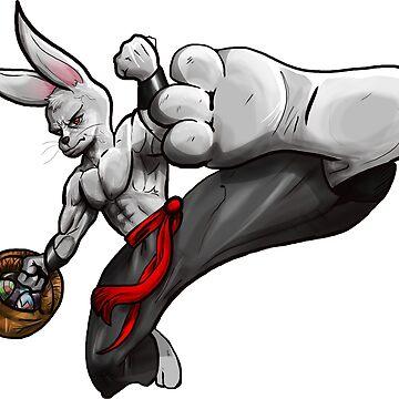 Kung Fu Easter Bunny Fly Kick by wademcm