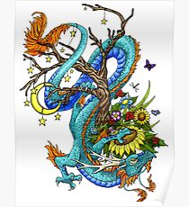 A Blue Dragon Around A Tree Poster