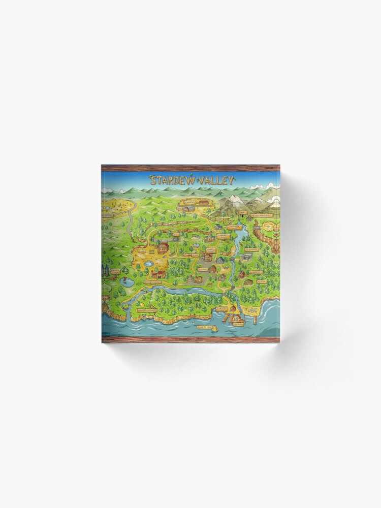 Alternate view of Stardew Valley Map Acrylic Block