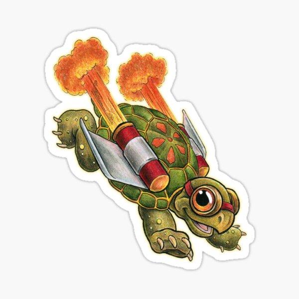 Rocket Tortoise Reversed Sticker Sticker