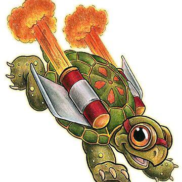 Rocket Tortoise Reversed Sticker by SharpTattoos