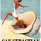 Weinlese-San Sebastian Spanien-Reise-Plakat von AllVintageArt