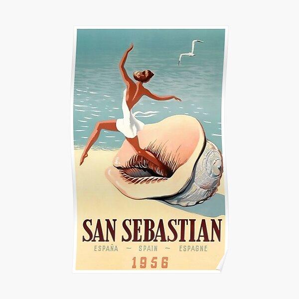 Vintage 1950s Travel Poster San Sebastian Beach Sea Shell Seagull Holiday Retro