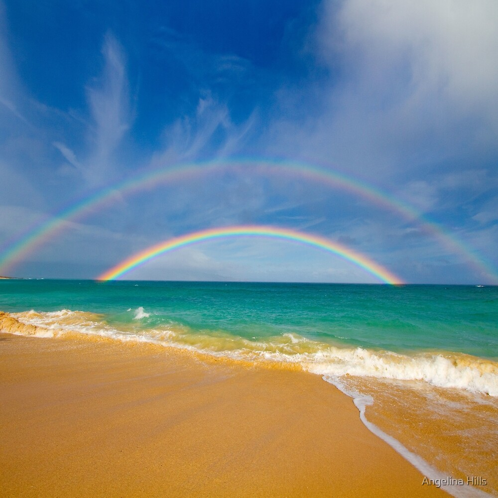 Double Rainbow Baldwin Beach by Angelina Hills