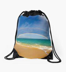 Double Rainbow Baldwin Beach Drawstring Bag