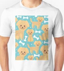 funny golden beige dog and white bones, Kawaii face with large eyes and pink cheeks, boy and girl on blue background. T-Shirt