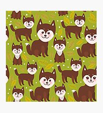 pattern funny brown husky dog and leaves, Kawaii face with large eyes and pink cheeks, boy and girl on green background. Photographic Print