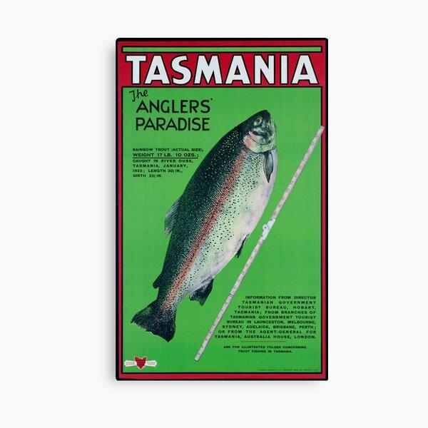Vintage Tasmania Fishing Travel Poster Canvas Print