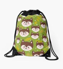 pattern funny brown husky dog and leaves, Kawaii face with large eyes and pink cheeks, boy and girl on green background Drawstring Bag