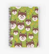 pattern funny brown husky dog and leaves, Kawaii face with large eyes and pink cheeks, boy and girl on green background Spiral Notebook