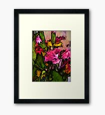Pink Flowers and Green Leaves with some Yellow Framed Print