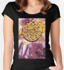 yellow leaves on the sidewalk Women's Fitted Scoop T-Shirt