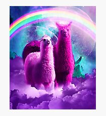 Crazy Funny Rainbow Llama In Space  Photographic Print