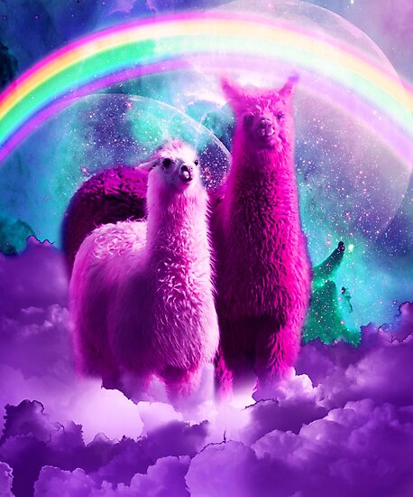 Crazy Funny Rainbow Llama In Space  by SkylerJHill
