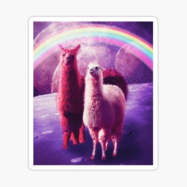 Crazy Funny Rainbow Llama In Space  Sticker