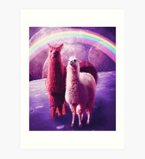 Crazy Funny Rainbow Llama In Space  Art Print