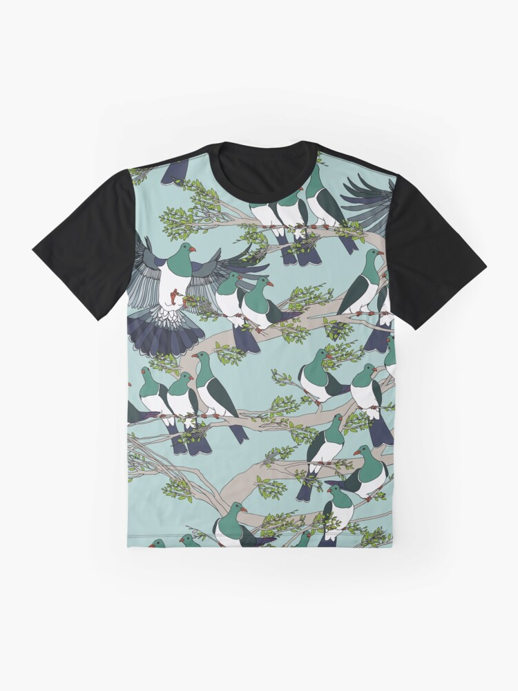 Alternate view of Kereru on turquoise sky - pale branches Graphic T-Shirt