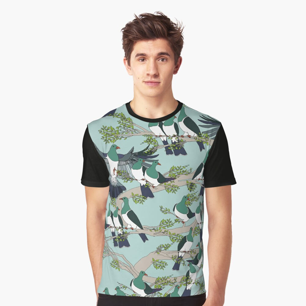 Kereru on turquoise sky - pale branches Graphic T-Shirt