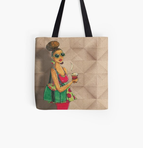 Modern African woman- Morning coffee All Over Print Tote Bag