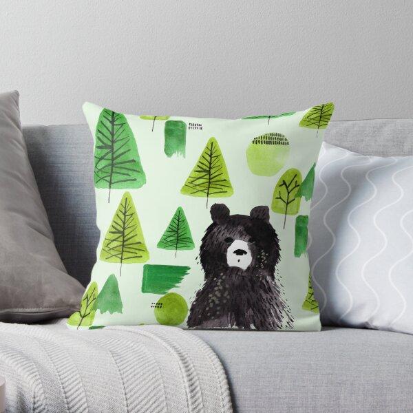 Bernard the Bear - Green Throw Pillow