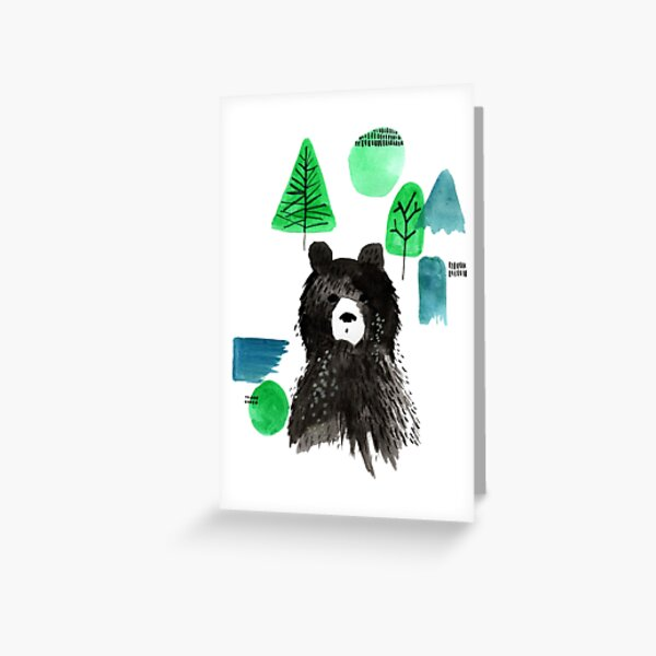 Bernard The Bear - Teal Greeting Card