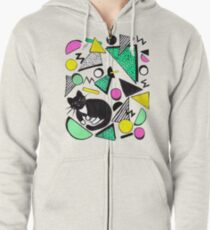 Mog Rad Cat - White Zipped Hoodie