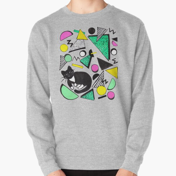 Mog Rad Cat - White Pullover Sweatshirt