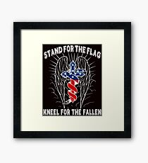 Stand For The Flag, Kneel For The Fallen Framed Print