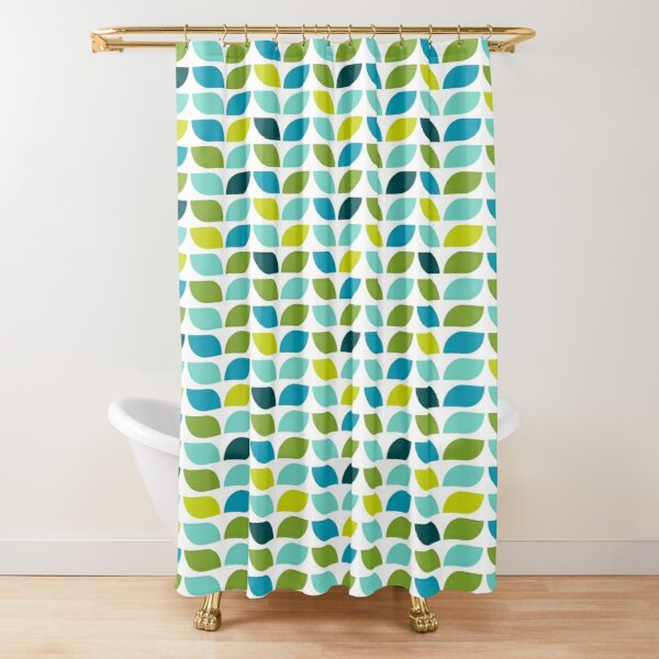 Geometric Pattern: Leaf: Spring Shower Curtain