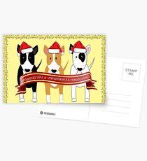 """""""Wonderbull Christmas"""" Bull Terriers by BulliesRule Postcards"""