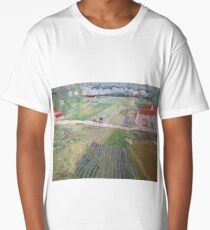 Landscape with Carriage and Trains 1890 Vincent van Gogh (Oil On Canvas) Long T-Shirt