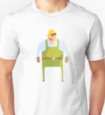 Builder In Hard Hat On Construction Site T-Shirt