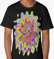 Psychedelic Glowing Colors Pattern Long T-Shirt