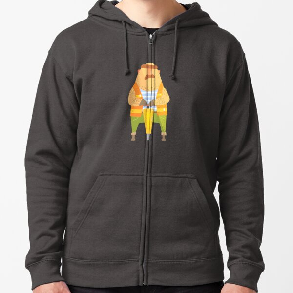 Builder With Jackhammer On Construction Site Zipped Hoodie