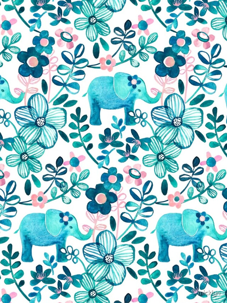 Dusty Pink, White and Teal Elephant and Floral Watercolor Pattern by micklyn