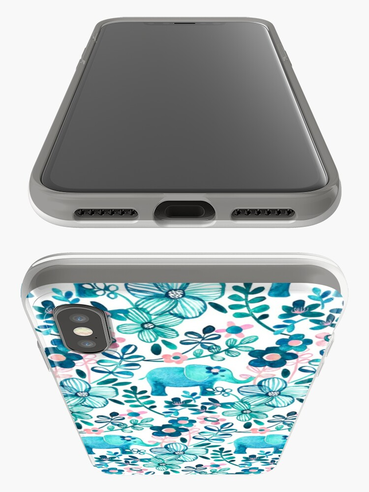 Alternate view of Dusty Pink, White and Teal Elephant and Floral Watercolor Pattern iPhone Case & Cover