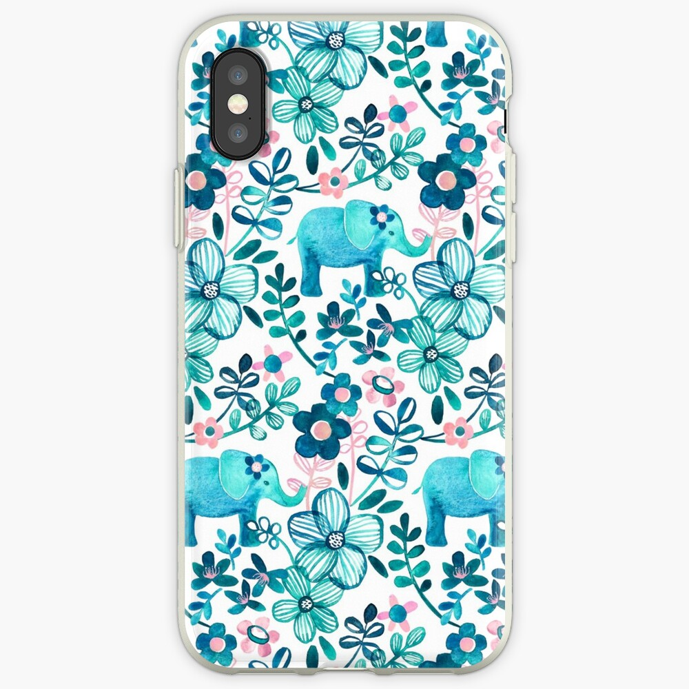 Dusty Pink, White and Teal Elephant and Floral Watercolor Pattern iPhone Case & Cover