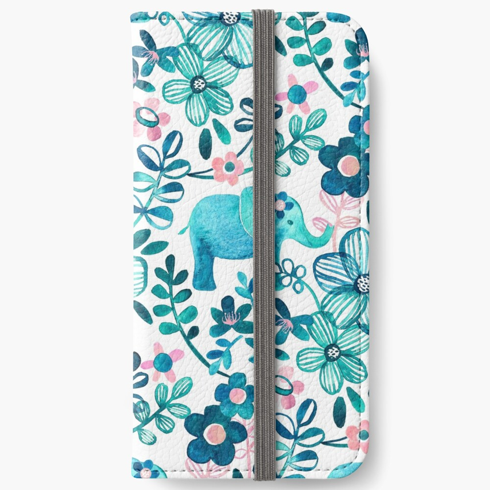Dusty Pink, White and Teal Elephant and Floral Watercolor Pattern Fundas tarjetero para iPhone