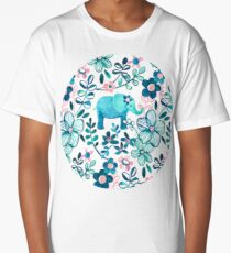 Dusty Pink, White and Teal Elephant and Floral Watercolor Pattern Long T-Shirt