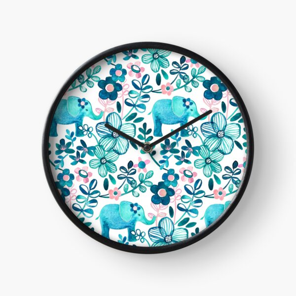 Dusty Pink, White and Teal Elephant and Floral Watercolor Pattern Clock