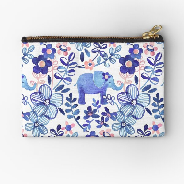 Pale Coral, White and Purple Elephant and Floral Watercolor Pattern Zipper Pouch