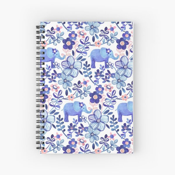 Pale Coral, White and Purple Elephant and Floral Watercolor Pattern Spiral Notebook