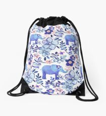 Pale Coral, White and Purple Elephant and Floral Watercolor Pattern Drawstring Bag