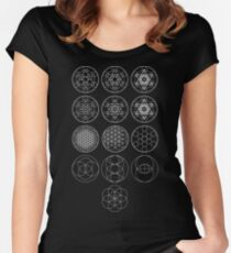 13 Circles of Sacred Geometry [White] | FRESH Women's Fitted Scoop T-Shirt