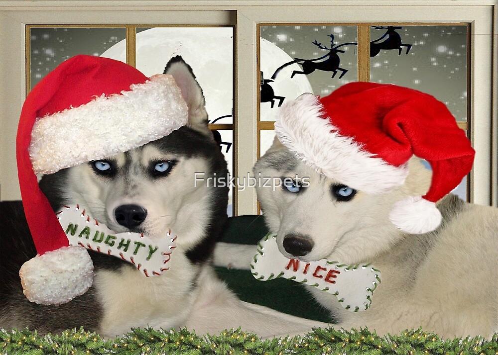 Husky Christmas Cards.Siberian Husky Naughty Or Nice Christmas Art Apparel Gifts