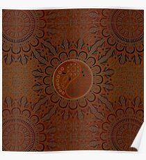 Yin yang symbol in brown leather embossed ornament  Poster